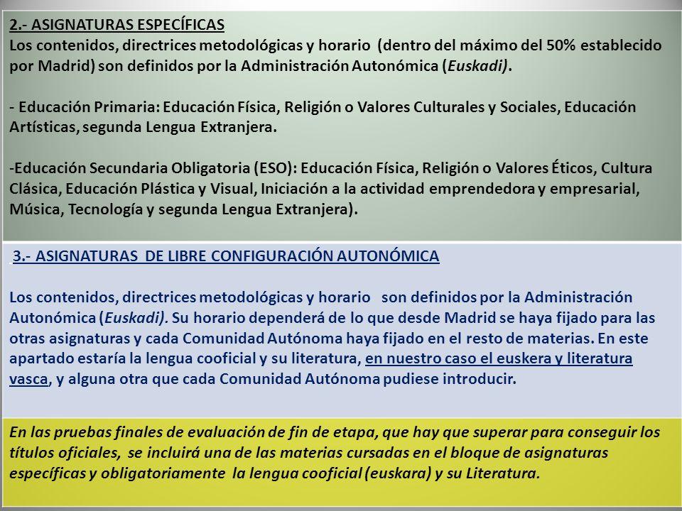 2.- ASIGNATURAS ESPECÍFICAS Los contenidos, directrices metodológicas y horario (dentro del máximo del 50% establecido por Madrid) son definidos por l