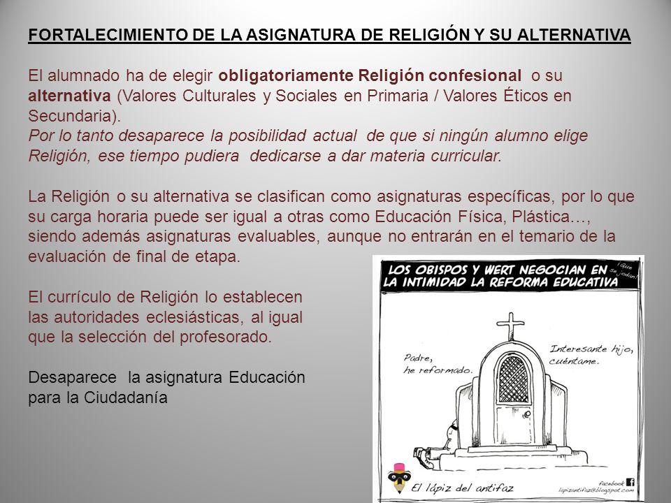FORTALECIMIENTO DE LA ASIGNATURA DE RELIGIÓN Y SU ALTERNATIVA El alumnado ha de elegir obligatoriamente Religión confesional o su alternativa (Valores