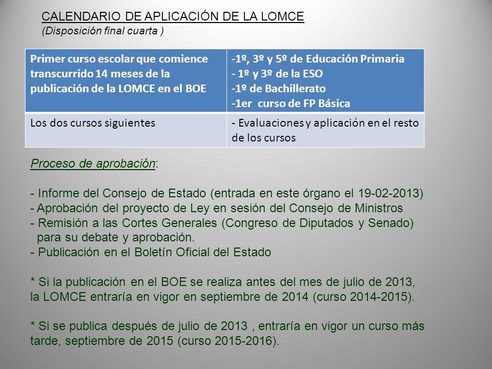 Primer curso escolar que comience transcurrido 14 meses de la publicación de la LOMCE en el BOE -1º, 3º y 5º de Educación Primaria - 1º y 3º de la ESO