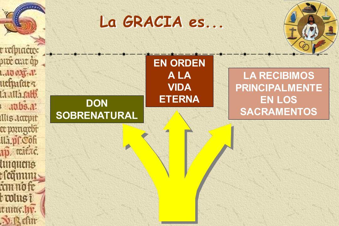 LA RECIBIMOS PRINCIPALMENTE EN LOS SACRAMENTOS EN ORDEN A LA VIDA ETERNA La GRACIA es... DON SOBRENATURAL