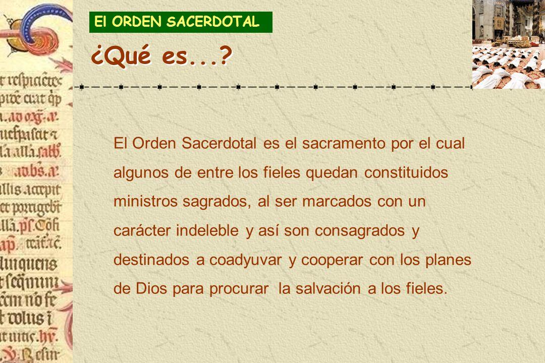 El Orden Sacerdotal es el sacramento por el cual algunos de entre los fieles quedan constituidos ministros sagrados, al ser marcados con un carácter i