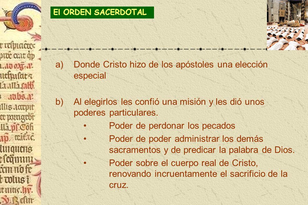 a)Donde Cristo hizo de los apóstoles una elección especial b)Al elegirlos les confió una misión y les dió unos poderes particulares. Poder de perdonar