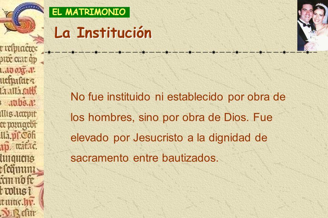 No fue instituido ni establecido por obra de los hombres, sino por obra de Dios. Fue elevado por Jesucristo a la dignidad de sacramento entre bautizad