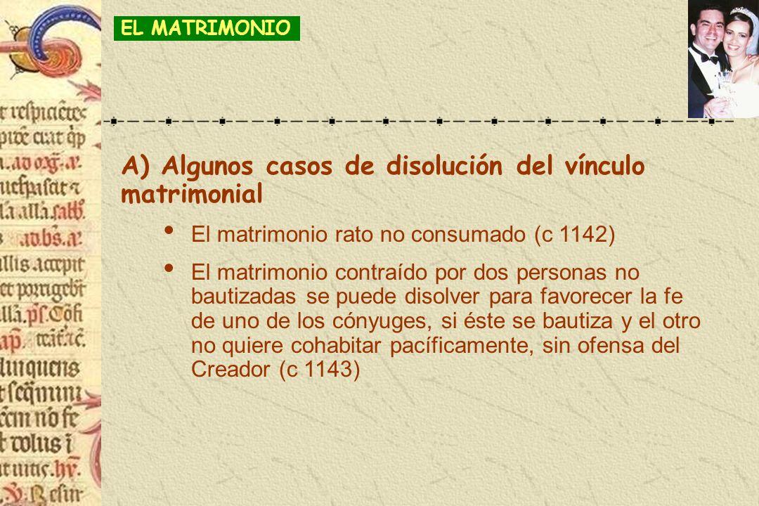 A) Algunos casos de disolución del vínculo matrimonial El matrimonio rato no consumado (c 1142) El matrimonio contraído por dos personas no bautizadas