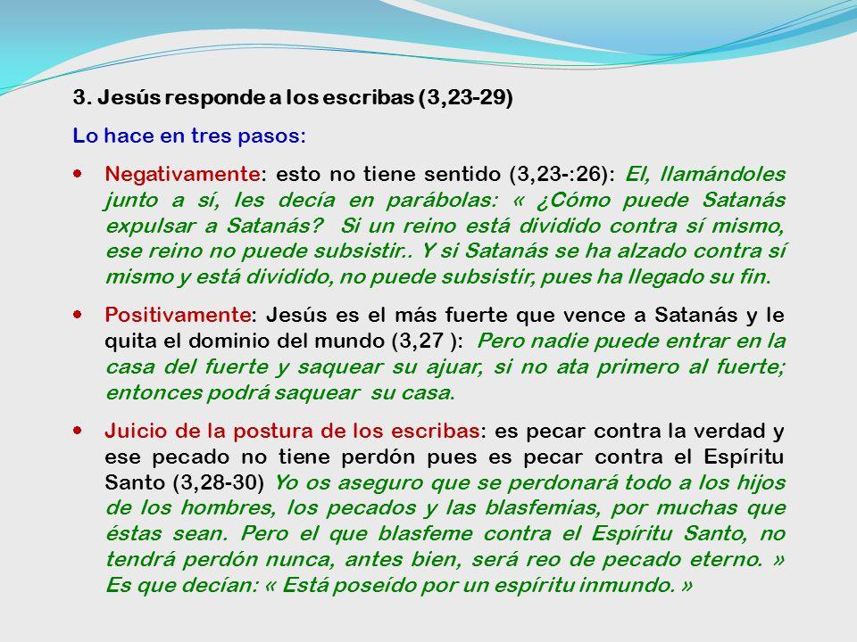 2. Postura de los escribas fariseos (3,22) Está endemoniado Los escribas que habían bajado de Jerusalén decían: «Está poseído por Beelzebul y «por el