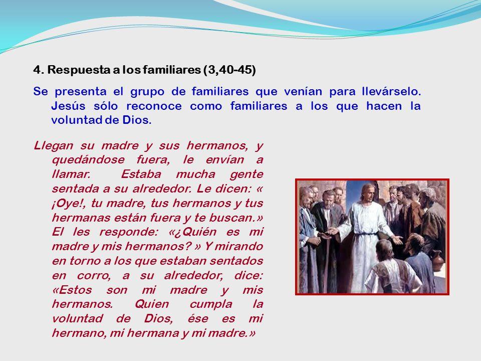3. Jesús responde a los escribas (3,23-29) Lo hace en tres pasos: Negativamente: esto no tiene sentido (3,23-:26): El, llamándoles junto a sí, les dec