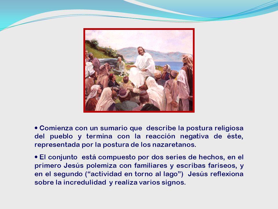 Comienza con un sumario que describe la postura religiosa del pueblo y termina con la reacción negativa de éste, representada por la postura de los nazaretanos.