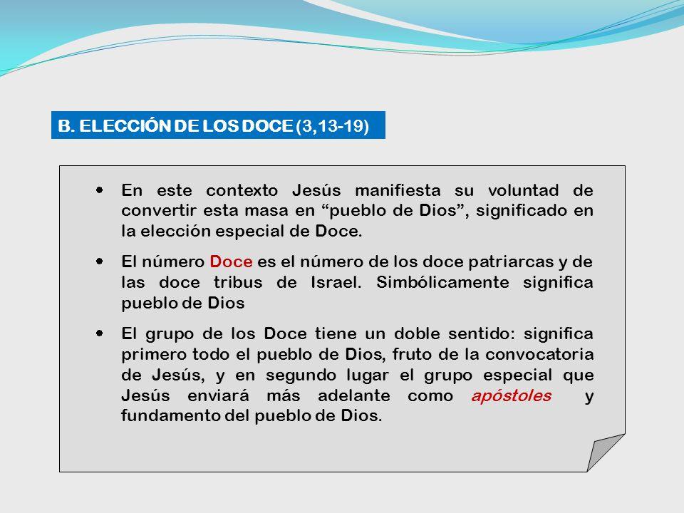 En este contexto Jesús manifiesta su voluntad de convertir esta masa en pueblo de Dios, significado en la elección especial de Doce.
