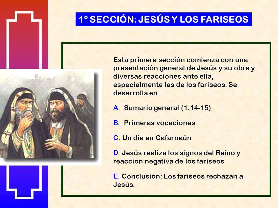 Esta primera sección comienza con una presentación general de Jesús y su obra y diversas reacciones ante ella, especialmente las de los fariseos.