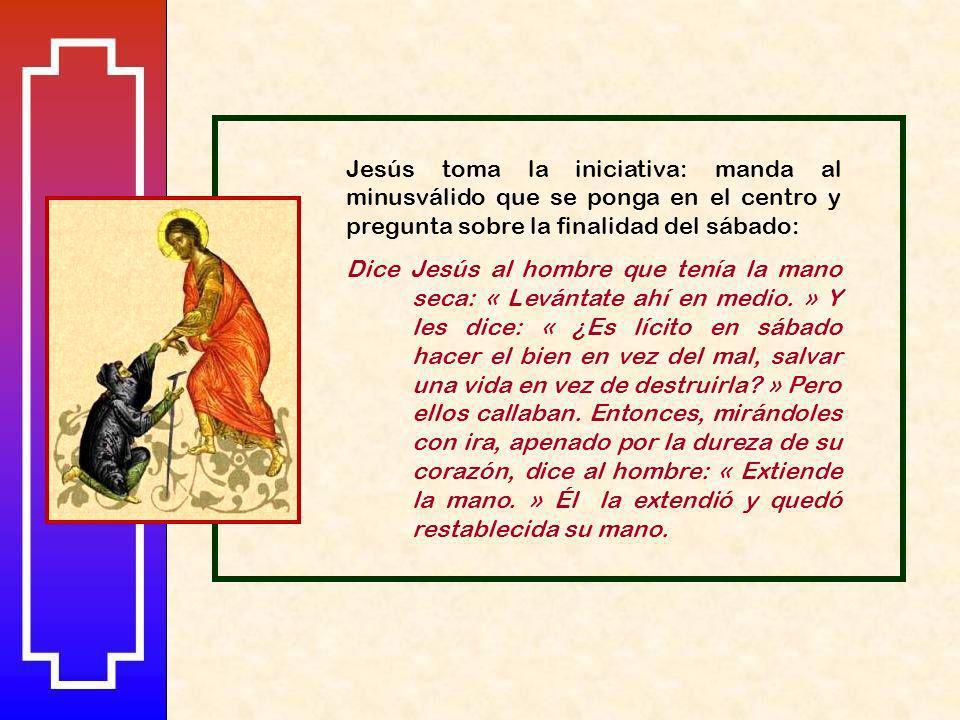CURACIÓN DEL HOMBRE DE LA MANO PARALIZADA (3,1-5) Continúa el mismo tema: la oposición legalista, que tiende una trampa a Jesús para ver si cura un sá