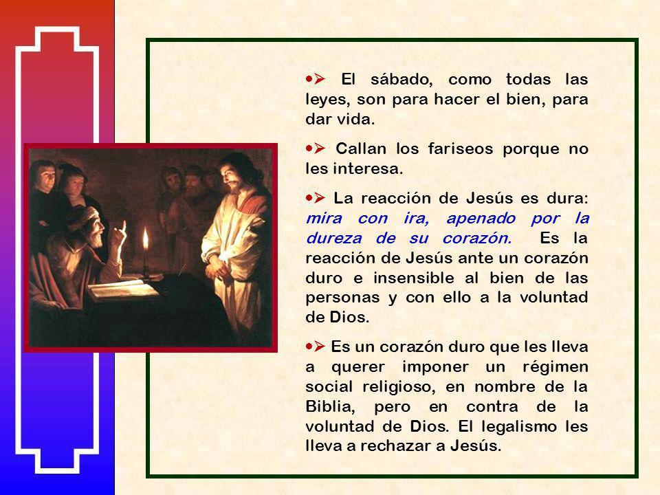 Jesús toma la iniciativa: manda al minusválido que se ponga en el centro y pregunta sobre la finalidad del sábado: Dice Jesús al hombre que tenía la m