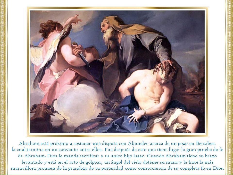 Abraham está próximo a sostener una disputa con Abimelec acerca de un pozo en Bersabee, la cual termina en un convenio entre ellos. Fue después de est