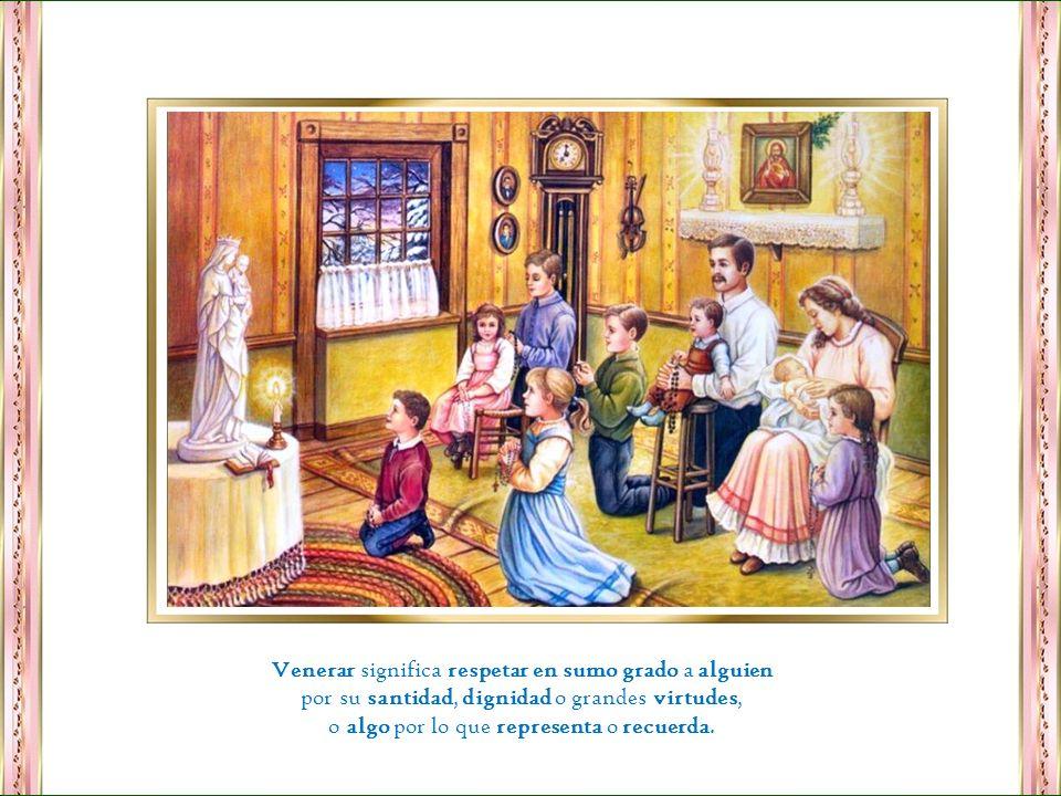 Adorar y venerar son dos cosas distintas. Veneramos a María. Adoramos la divinidad de la Santísima Trinidad Dios, Jesús y Espíritu Santo.