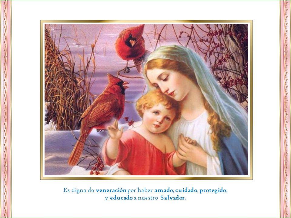 María es digna de veneración por las muchas virtudes que Dios valoró en ella, por eso la eligió como madre del Mesías.