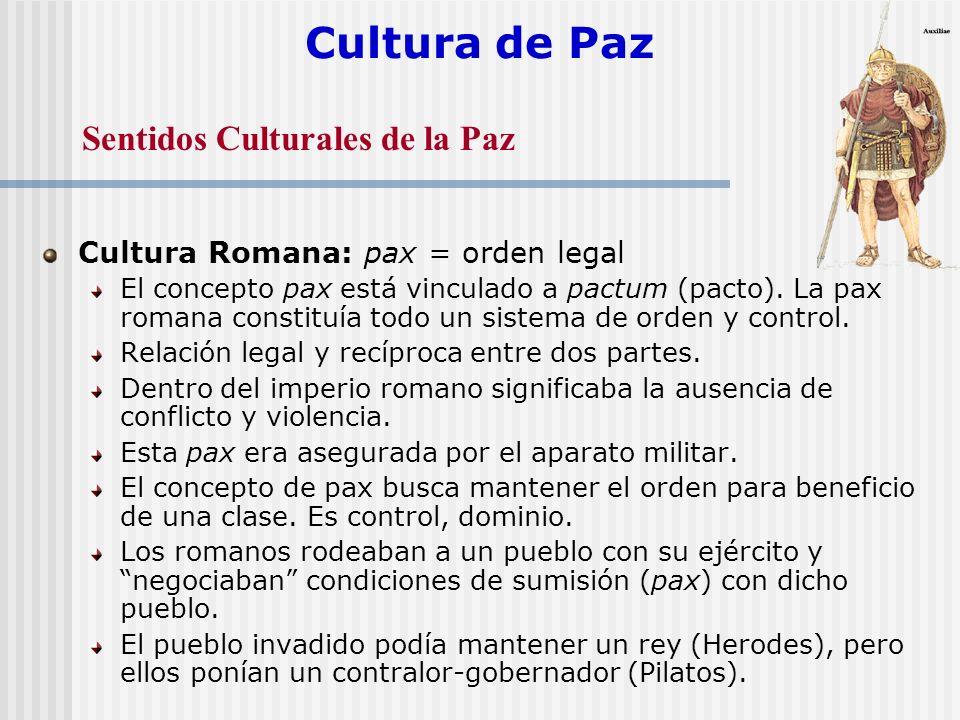 Cultura de Paz Cultura Romana: pax = orden legal El concepto pax está vinculado a pactum (pacto). La pax romana constituía todo un sistema de orden y