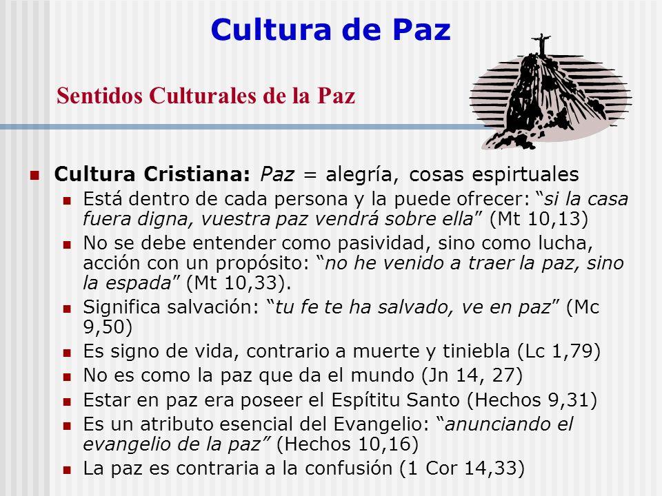 Cultura de Paz Cultura Cristiana: Paz = alegría, cosas espirtuales Está dentro de cada persona y la puede ofrecer: si la casa fuera digna, vuestra paz