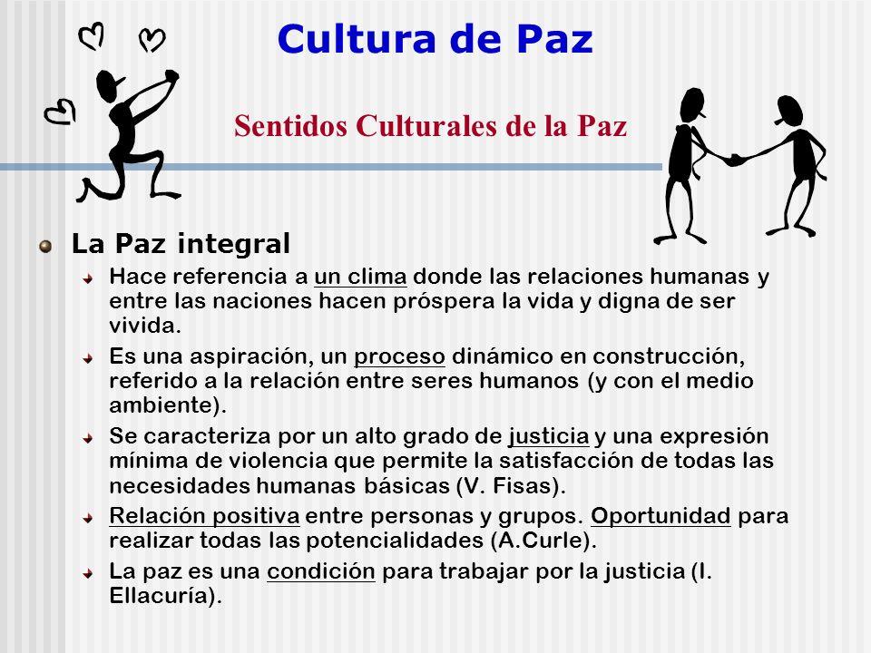 Cultura de Paz La Paz integral Hace referencia a un clima donde las relaciones humanas y entre las naciones hacen próspera la vida y digna de ser vivi