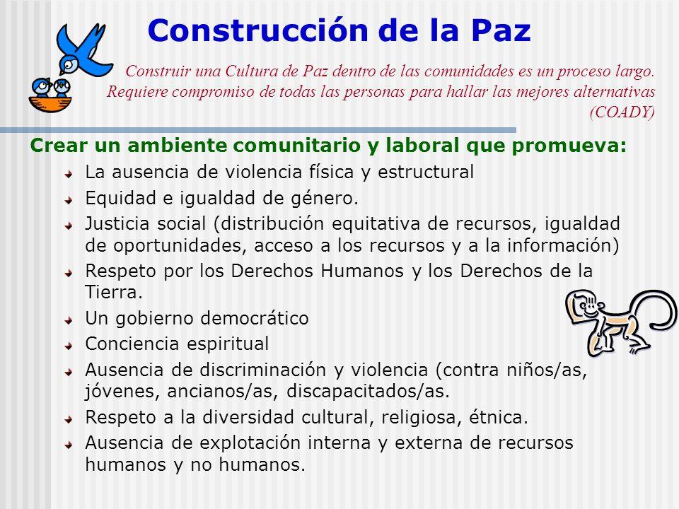 Construcción de la Paz Crear un ambiente comunitario y laboral que promueva: La ausencia de violencia física y estructural Equidad e igualdad de géner