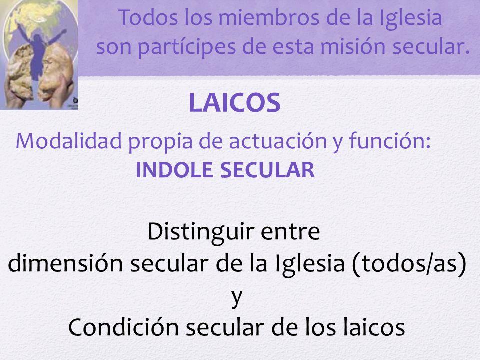 SECULARIDAD EN LOS LAICOS Vocación específica de presencia y acción en el siglo.