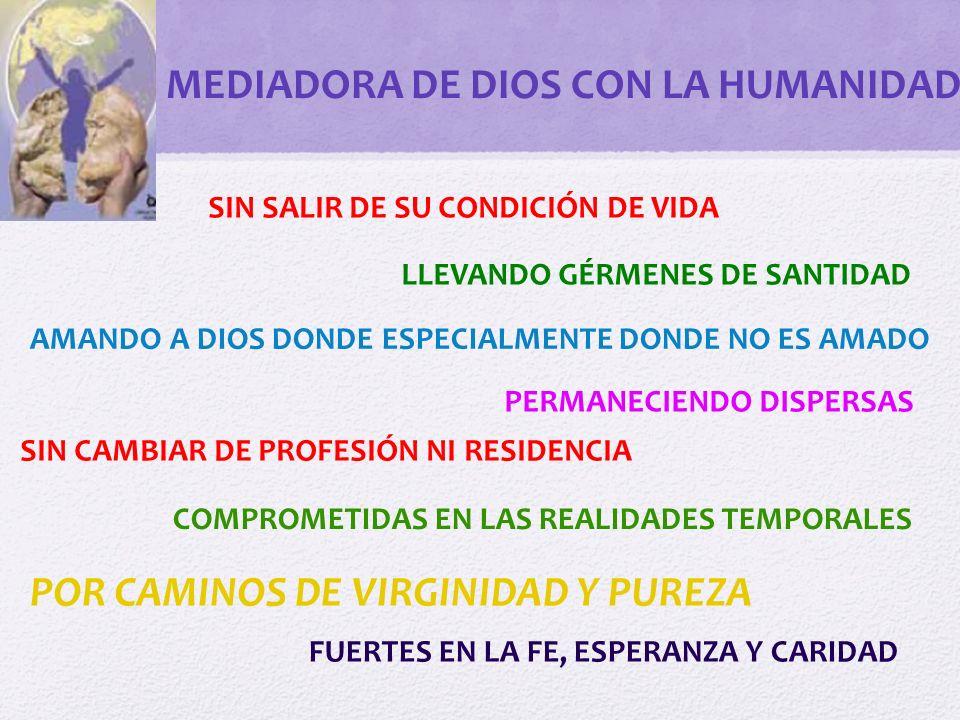 MEDIACION VIRGINAL Y VIRGINIZANTE Ante todo buscar a Dios Que nuestra vida consagrada en secularidad ponga de relieve la transparencia virginal evangélica con savia cristocéntrica.