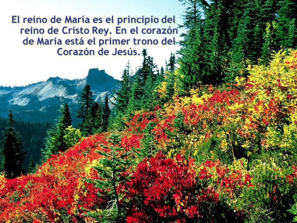 El reino de María es el principio del reino de Cristo Rey. En el corazón de María está el primer trono del Corazón de Jesús. El reino de María es el p