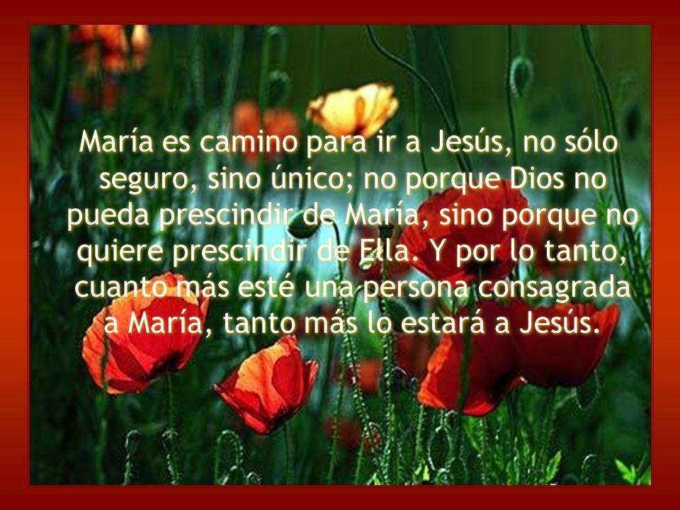 María es camino para ir a Jesús, no sólo seguro, sino único; no porque Dios no pueda prescindir de María, sino porque no quiere prescindir de Ella. Y