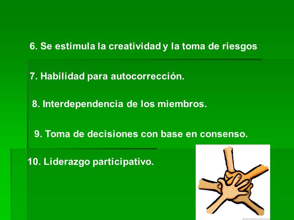 6. Se estimula la creatividad y la toma de riesgos 7.