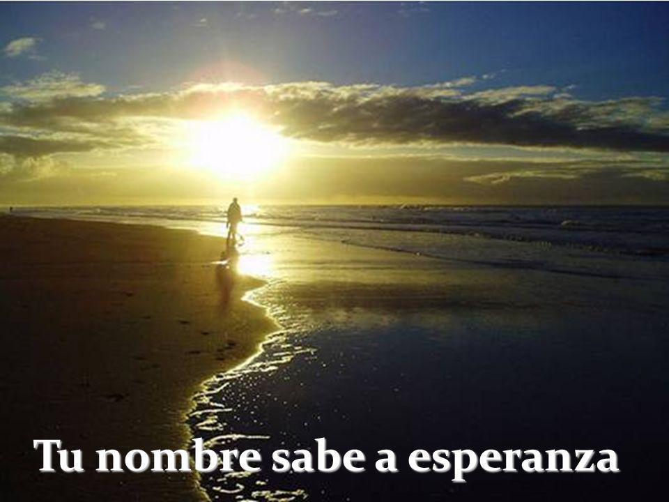 Tu nombre me sabe a mar Tu nombre me sabe a magia Me sabe tu nombre a sol Tu nombre sabe a bonanza.
