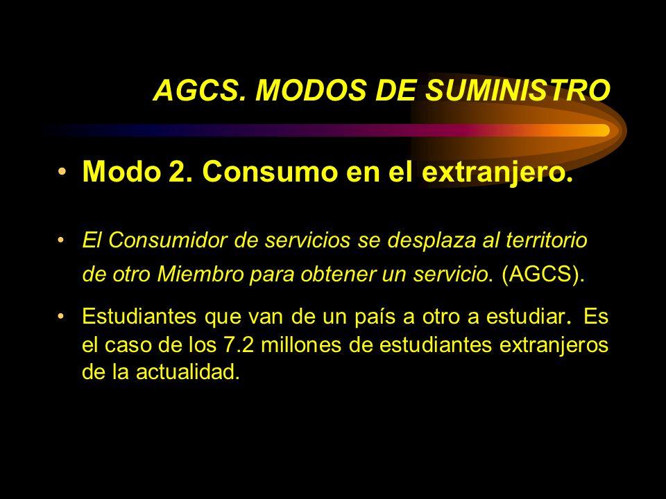 AGCS. MODOS DE SUMINISTRO Modo 2. Consumo en el extranjero. El Consumidor de servicios se desplaza al territorio de otro Miembro para obtener un servi