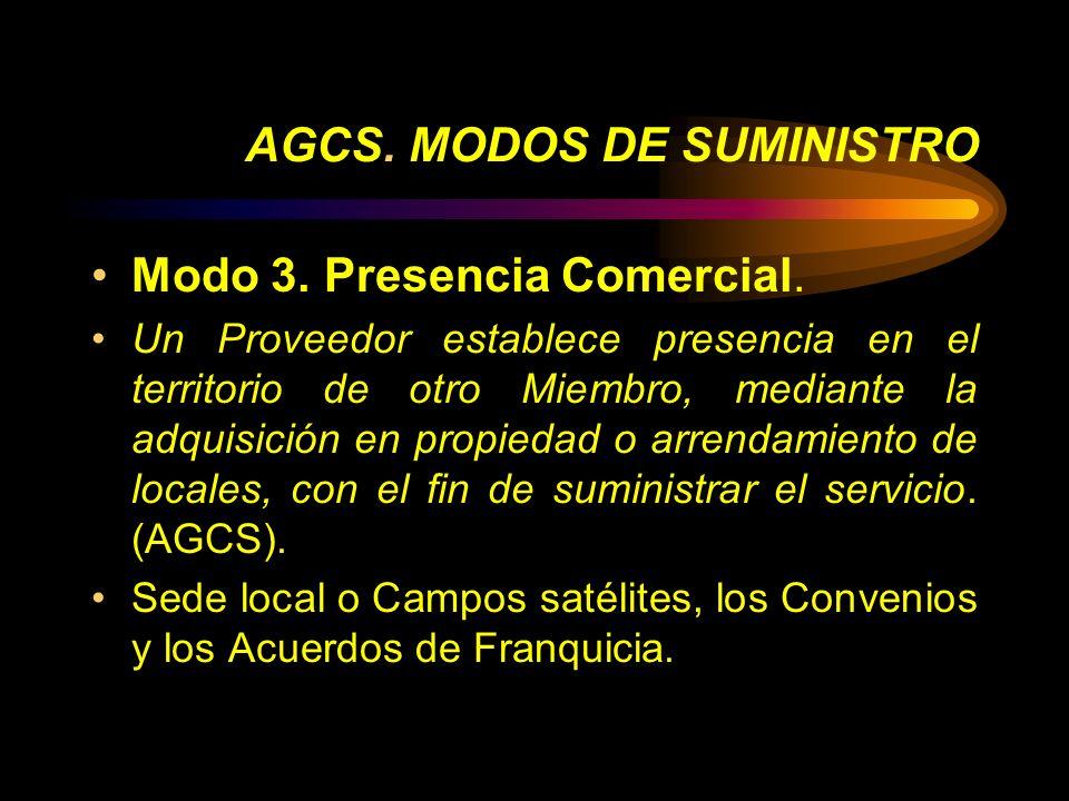 AGCS. MODOS DE SUMINISTRO Modo 3. Presencia Comercial. Un Proveedor establece presencia en el territorio de otro Miembro, mediante la adquisición en p