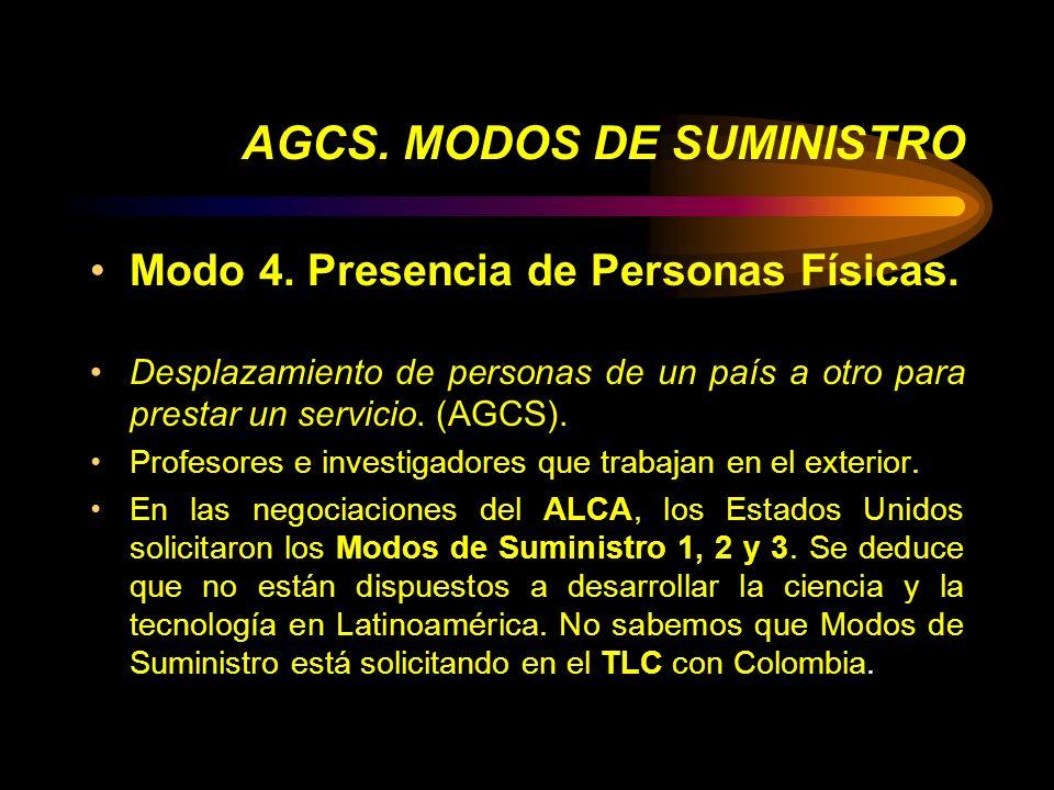 AGCS. MODOS DE SUMINISTRO Modo 4. Presencia de Personas Físicas. Desplazamiento de personas de un país a otro para prestar un servicio. (AGCS). Profes