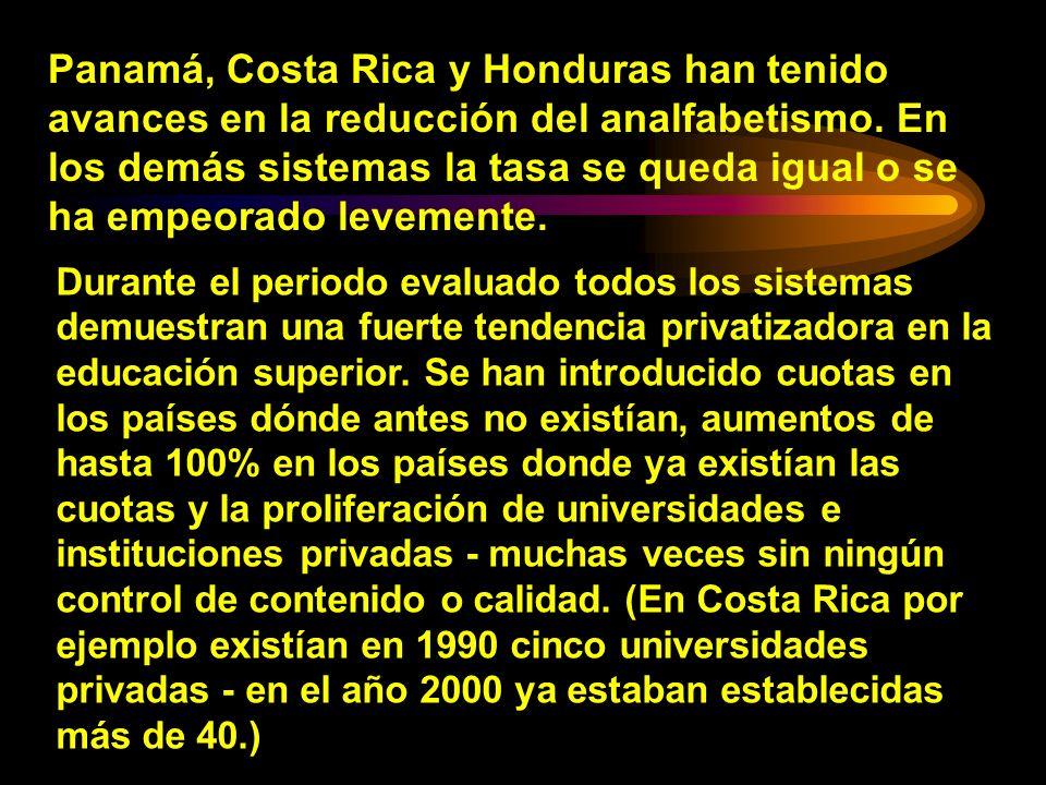 Panamá, Costa Rica y Honduras han tenido avances en la reducción del analfabetismo. En los demás sistemas la tasa se queda igual o se ha empeorado lev