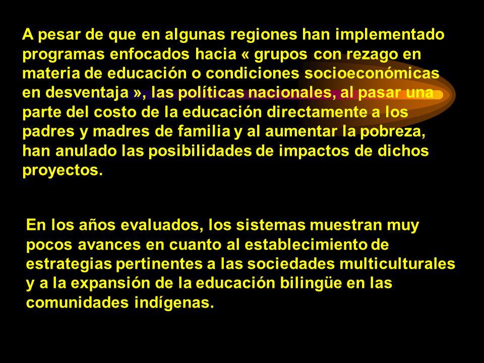 A pesar de que en algunas regiones han implementado programas enfocados hacia « grupos con rezago en materia de educación o condiciones socioeconómica