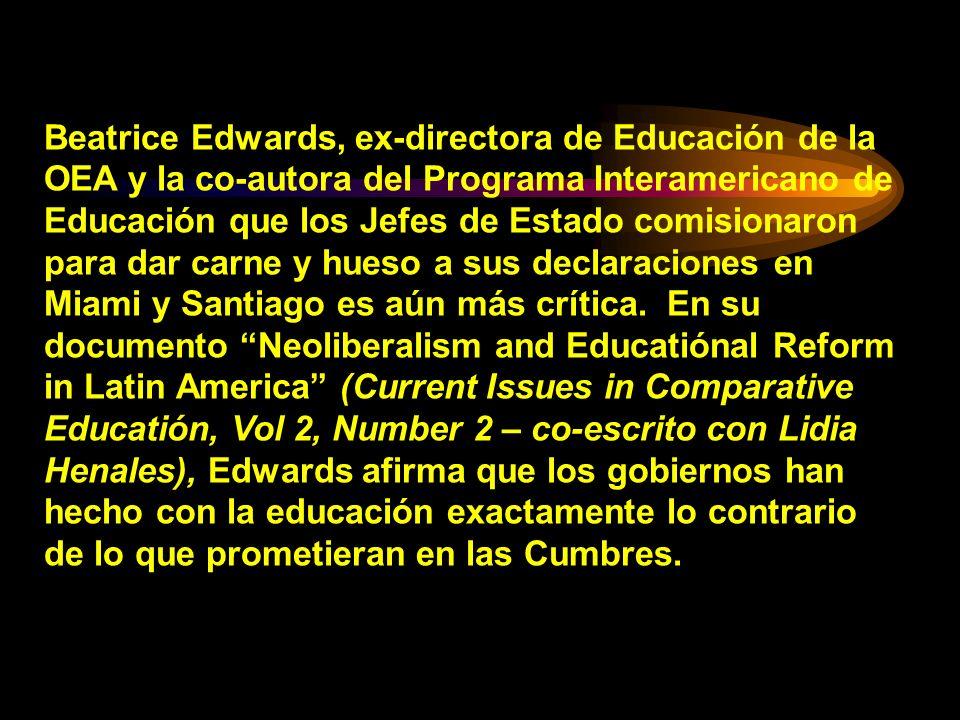 Beatrice Edwards, ex-directora de Educación de la OEA y la co-autora del Programa Interamericano de Educación que los Jefes de Estado comisionaron par