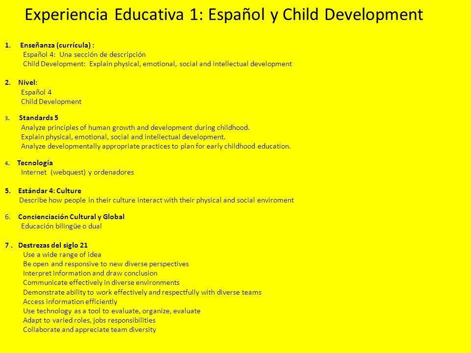 Experiencia Educativa 2: Español y Health 1.