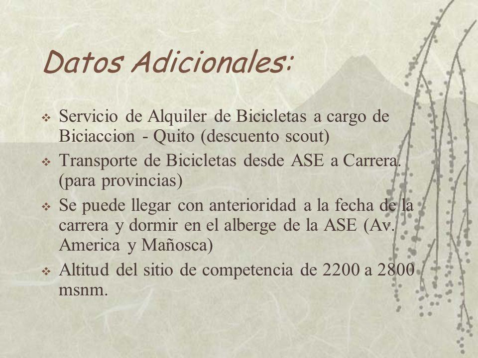 Datos Adicionales: Servicio de Alquiler de Bicicletas a cargo de Biciaccion - Quito (descuento scout) Transporte de Bicicletas desde ASE a Carrera.