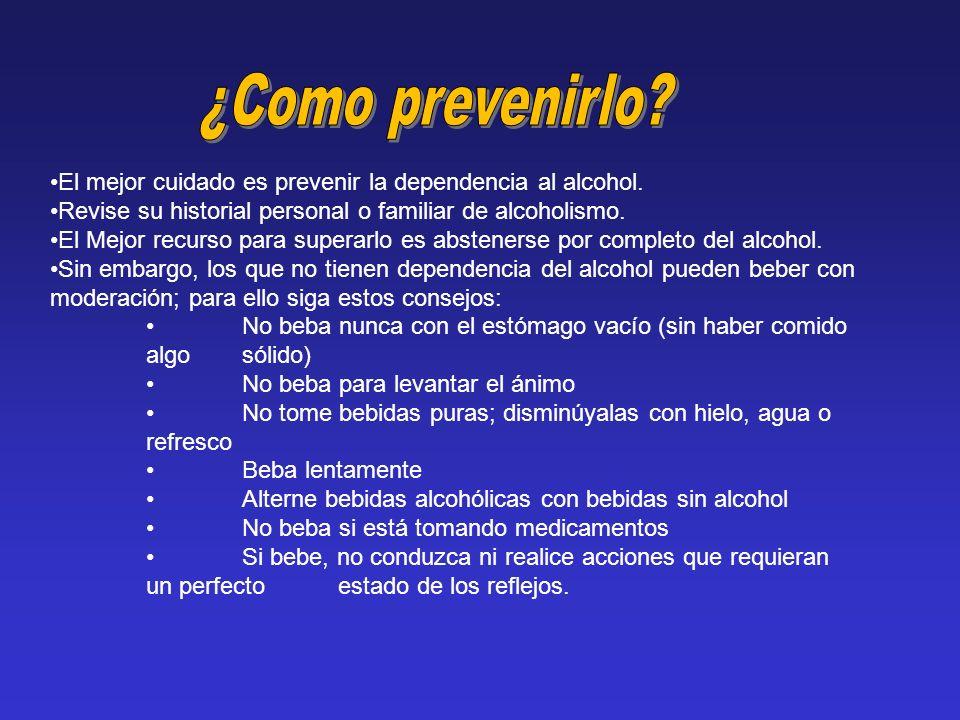 El mejor cuidado es prevenir la dependencia al alcohol. Revise su historial personal o familiar de alcoholismo. El Mejor recurso para superarlo es abs