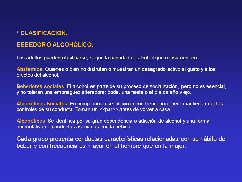 BEBEDOR O ALCOHÓLICO. Los adultos pueden clasificarse, según la cantidad de alcohol que consumen, en: Abstemios. Quienes o bien no disfrutan o muestra