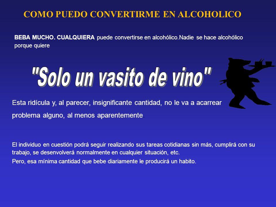 COMO PUEDO CONVERTIRME EN ALCOHOLICO BEBA MUCHO. CUALQUIERA puede convertirse en alcohólico.Nadie se hace alcohólico porque quiere Esta ridícula y, al