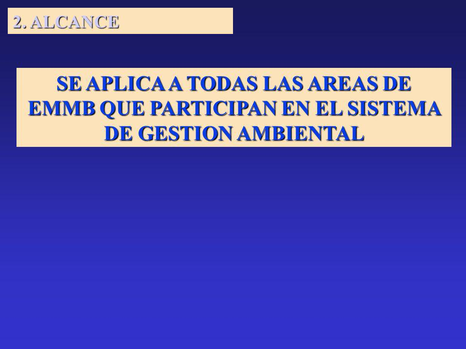 2. ALCANCE SE APLICA A TODAS LAS AREAS DE EMMB QUE PARTICIPAN EN EL SISTEMA DE GESTION AMBIENTAL