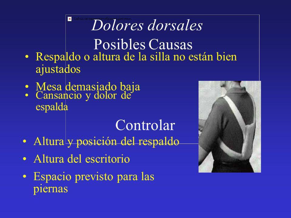 Dolores dorsales Cansancio y dolor de espalda Posibles Causas Respaldo o altura de la silla no están bien ajustados Mesa demasiado baja Controlar Altu