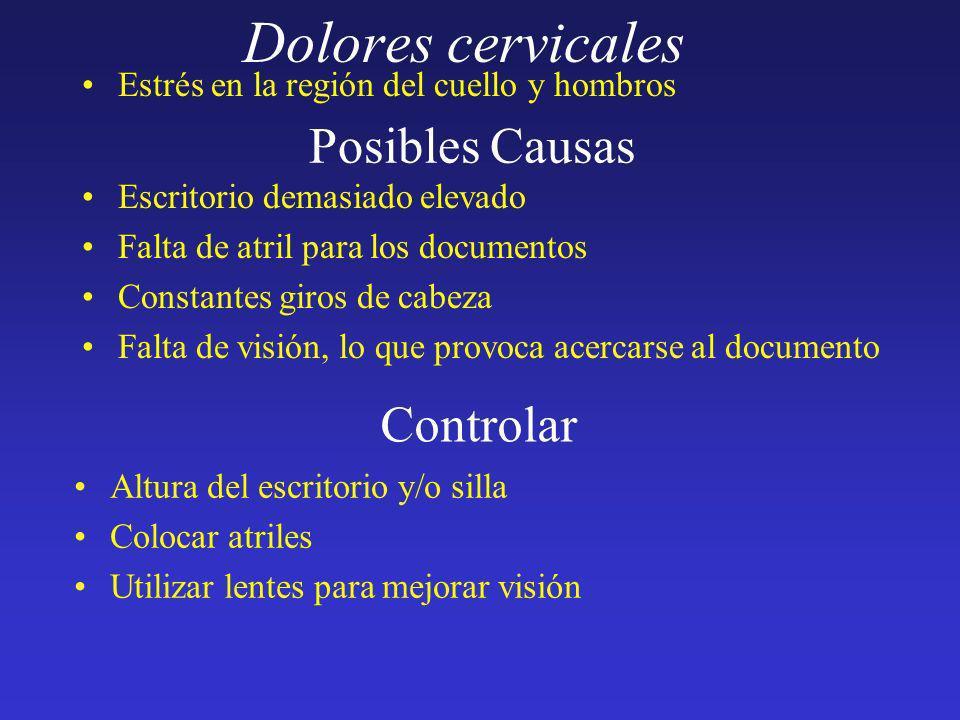 Dolores cervicales Estrés en la región del cuello y hombros Posibles Causas Escritorio demasiado elevado Falta de atril para los documentos Constantes