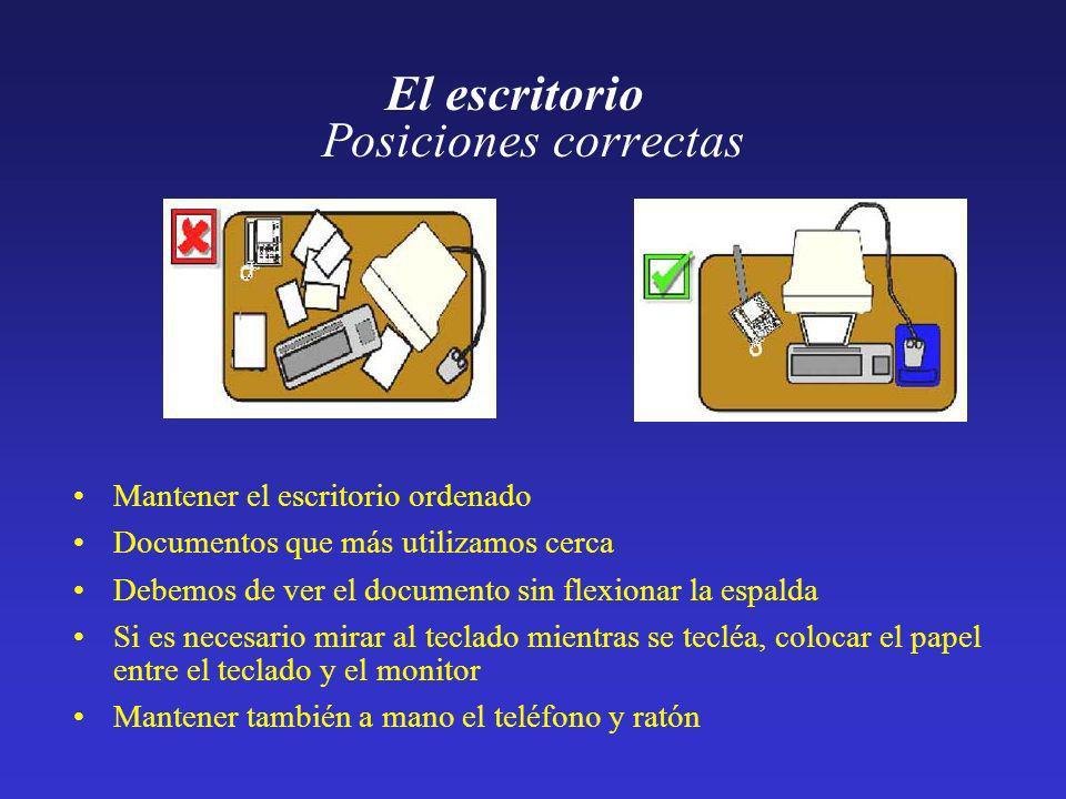 Posiciones correctas El escritorio Mantener el escritorio ordenado Documentos que más utilizamos cerca Debemos de ver el documento sin flexionar la es