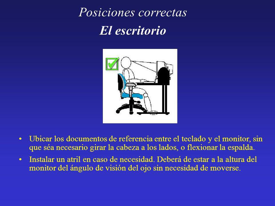 Posiciones correctas El escritorio Ubicar los documentos de referencia entre el teclado y el monitor, sin que séa necesario girar la cabeza a los lado