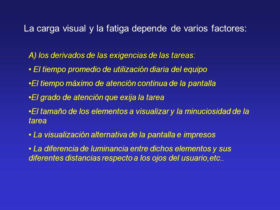 La carga visual y la fatiga depende de varios factores: los derivados de las exigencias de las tareas: A) los derivados de las exigencias de las tarea