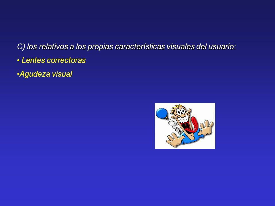 los relativos a los propias características visuales del usuario: C) los relativos a los propias características visuales del usuario: Lentes correcto