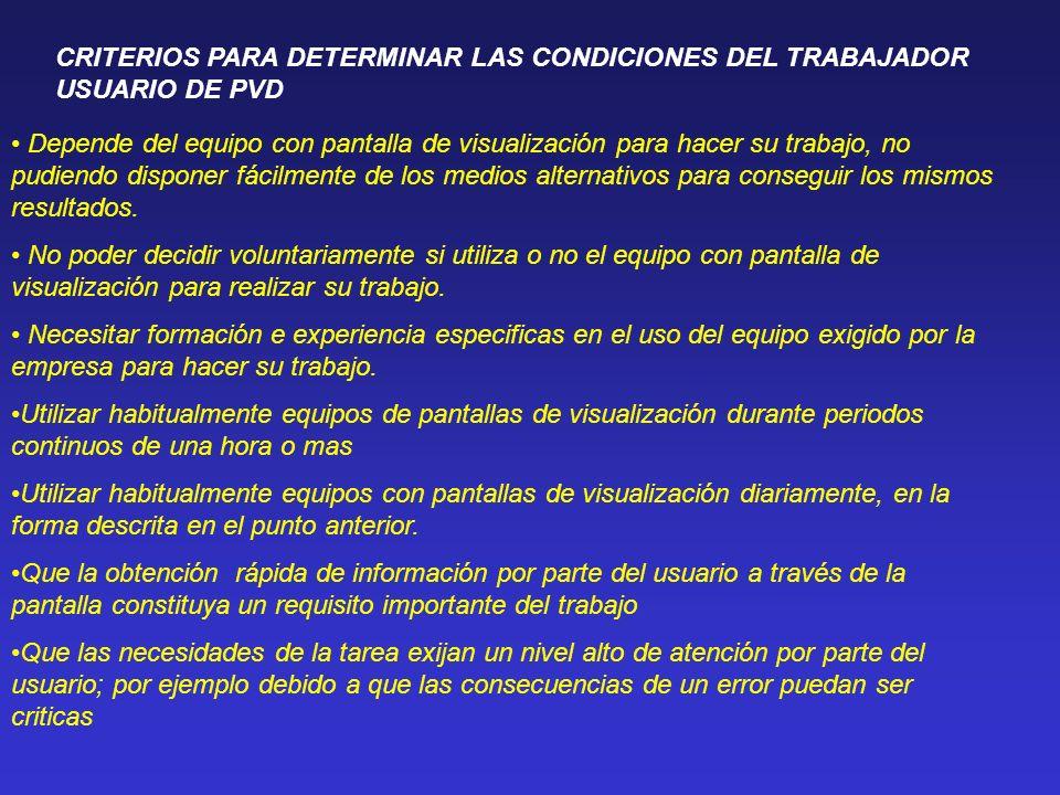 CRITERIOS PARA DETERMINAR LAS CONDICIONES DEL TRABAJADOR USUARIO DE PVD Depende del equipo con pantalla de visualización para hacer su trabajo, no pud