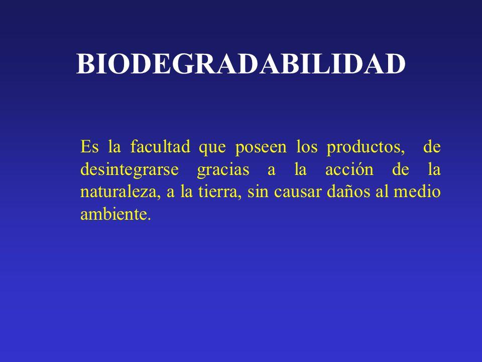BIODEGRADABILIDAD Es la facultad que poseen los productos, de desintegrarse gracias a la acción de la naturaleza, a la tierra, sin causar daños al med