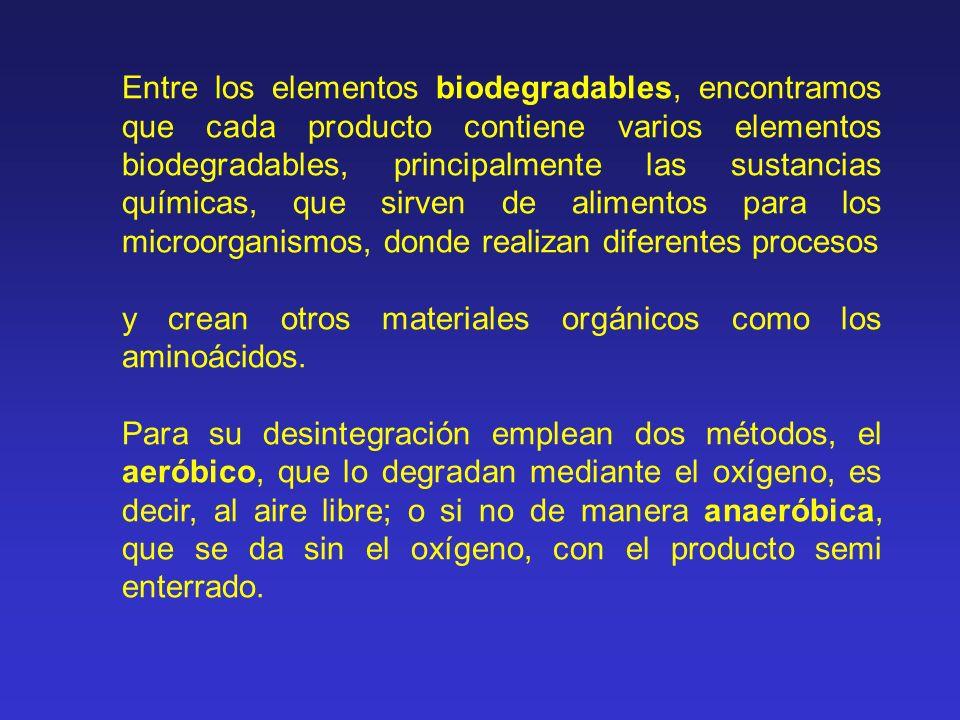 Entre los elementos biodegradables, encontramos que cada producto contiene varios elementos biodegradables, principalmente las sustancias químicas, qu