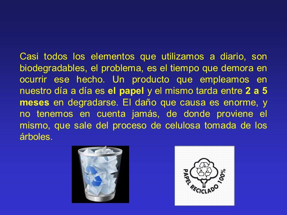 Casi todos los elementos que utilizamos a diario, son biodegradables, el problema, es el tiempo que demora en ocurrir ese hecho. Un producto que emple